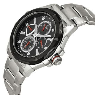 Seiko Lord GMT Multi Function Black Dial Stainless Steel Mens Watch