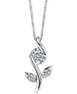 Sirena Diamond Flower Pendant Necklace (1/8 ct. t.w.) in 14k White