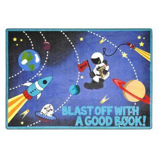 Joy Carpets Blast Off with A Good Book 10 ft 9 in x 4 ft 8 in Rectangular Multicolor Educational Area Rug