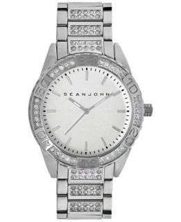 Sean John Mens Crystal Accent Silver Tone Bracelet Watch 48mm
