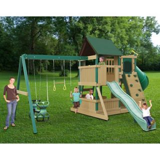 Congo Treehouse and Explorer Wooden Swing Set Green and Brown