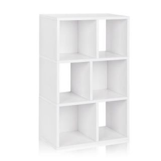 Way Basics zBoard Laguna 3 Shelf Eco Bookcase, Tool Free Assembly Cubby Storage in White WB 3SC WE
