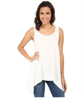 Karen Kane Crepe Handkerchief Tank Top Off White, Clothing, White