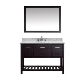 Virtu USA Caroline Estate 48 in. W x 36 in. H Vanity with Marble Vanity Top in Carrara White with White Basin and Mirror MS 2248 WMSQ ES