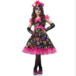 Sugar Skull Sweetie Costume for Kids   Size L