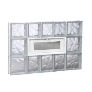 Clearly Secure 32.75 in. x 21.25 in. x 3.125 in. Vented Wave Pattern Glass Block Window 3422VDC