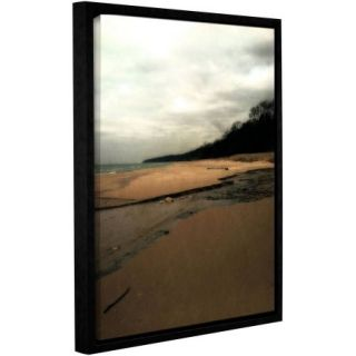"""ArtWall Kevin Calkins """"Winter Beach and Stream"""" Gallery Wrapped Floater Framed Canvas"""