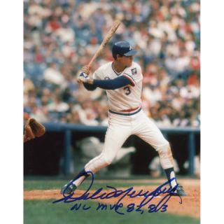 Dale Murphy Atlanta Braves  Authentic Autographed 8 x 10 White Jersey Photograph with 82/83 NL MVP inscription