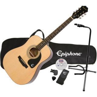 Epiphone DR 100 Exclusive Steel String Acoustic Guitar Pack Plus with eMedia Instructional Software and On Stage XCG4 Guitar Stand