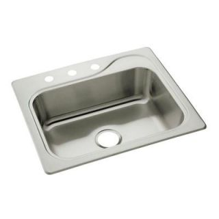 STERLING Southhaven Top Mount Stainless Steel 25 in. 3 Hole Single Bowl Kitchen Sink 11404 3 NA