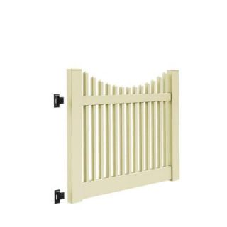 Veranda Yukon Scallop 5 ft. W x 4 ft. H Sand Vinyl Un Assembled Fence Gate 73014752