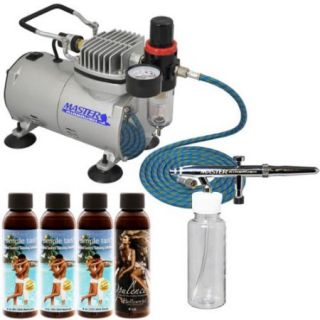 Belloccio AIRBRUSH SUNLESS TANNING SYSTEM Kit 4 Simple Tan Solutions Compressor