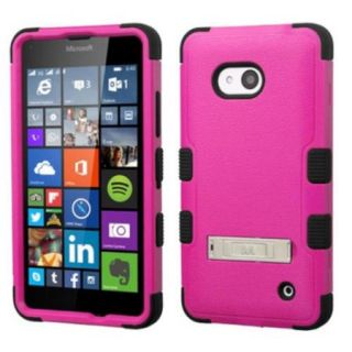 Insten Hard Dual Layer Silicone Cover Case w/stand For Microsoft Lumia 640(Metro PCS)/640(T mobile)   Hot Pink/Black