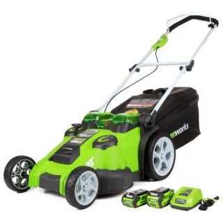 GreenWorks 25302 40V Twin Force Lawn Mower, Includes 4Ah Battery, 2Ah Battery, Charger