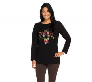 Susan Graver Weekend French Terry Top with Embroidery —