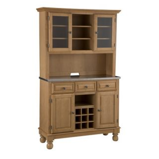 Home Styles 5300 0092 09 Stainless Steel Top on Maple Server with Two Door Hutch