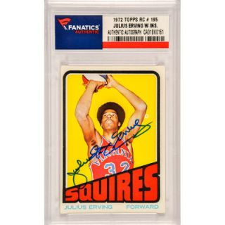 Julius Erving Virginia Squires  Authentic Autographed 1972 Topps Rookie #195 Card with Dr. J Inscription
