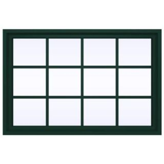 JELD WEN 47.5 in. x 35.5 in. V 4500 Series Fixed Picture Vinyl Window with Grids in Black THDJW142100269