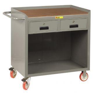 38 H x 41.5 W x 24 D Mobile Bench Cabinet with Storage Drawers by