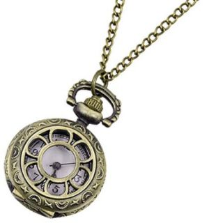 Lady Bronze Tone Arabic Number Scale Round Pocket Watch