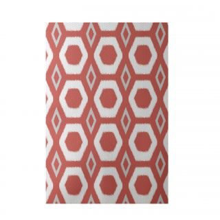 More Hugs and Kisses Geometric Print Orange Indoor/Outdoor Area Rug by