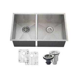 MR Direct All in One Undermount Stainless Steel 32 in. Right Double Bowl Kitchen Sink 3322OR ENS