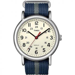 Timex Unisex Weekender Blue & Gray Nylon Slip Through Strap Watch   7218398