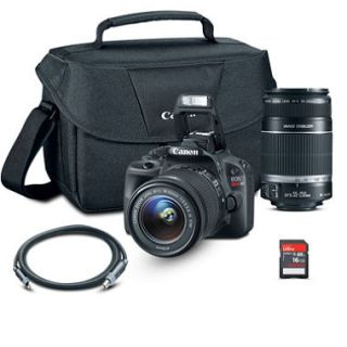Canon SL1 DSLR Camera Bundle with 18 55mm Lens, 55 250mm Lens, 16 GB SD Card and Camera Bag