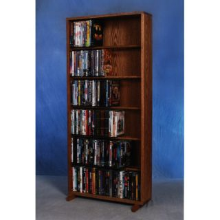 The Wood Shed 615 24 Solid Oak 6 Row Dowel DVD Cabinet Tower