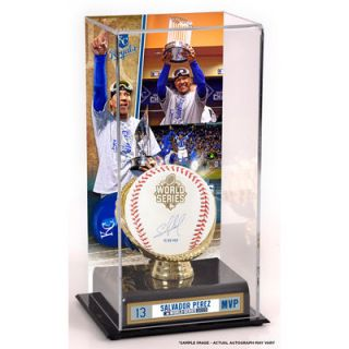 Salvador Perez Kansas City Royals  Authentic 2015 MLB World Series Champions Autographed 2015 World Series Baseball with 15 WS MVP Inscription and 2015 World Series MVP Sublimated Display Case with Image