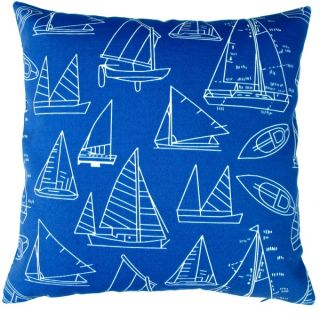 Artisan Pillows Indoor/ Outdoor 18 inch Marine Blue Sail Boat Yacht