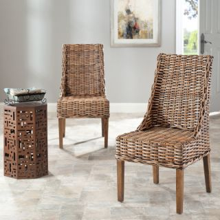 Safavieh St Thomas Indoor Wicker Brown Sloping Arm Chairs (Set of 2