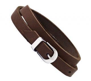 Stainless Steel Brown Leather Buckle Bracelet —