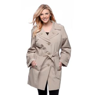 London Fog Womens Plus Size Single breasted Double Collar Raincoat