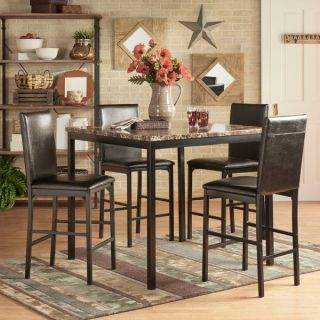 INSPIRE Q Darcy 5 piece Faux Marble/ Black Metal Counter Height Dining