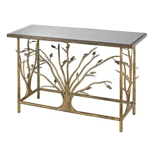 Sterling Industries 114 95 Gold Leafed Metal Branch Console Table with Antique Mirrored Top