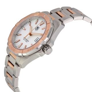 Tag Heuer Aquaracer Silver Dial Steel and 18kt Rose Gold Mens Watch