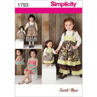 Simplicity Pattern Child's Dress Set and 18 Doll Dresses, (3, 4, 5, 6, 7, 8)