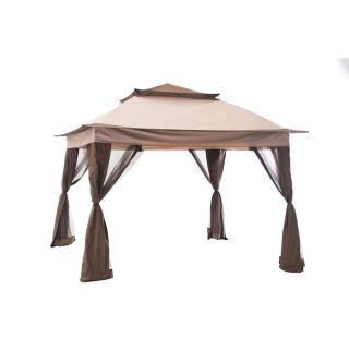 allen + roth Brown Steel Rectangle Gazebo (Exterior: 10.7 ft x 12.8 ft; Foundation: 10 ft x 12 Feet)
