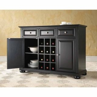 Crosley Furniture Alexandra Buffet Server and Sideboard Cabinet with Wine Storage