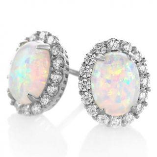 Absolute™ Simulated Opal Princess Style Stud Earrings   6762683