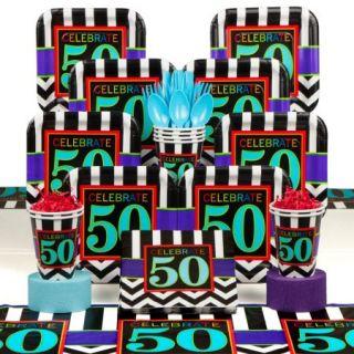 Chevron Mix 50Th Birthday Deluxe Kit (Serves 8)   Party Supplies