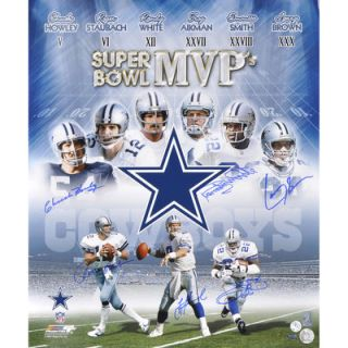 Chuck Howley, Roger Staubach, Randy White, Troy Aikman, Emmitt Smith and Larry Brown Dallas Cowboys Super Bowl MVPs Autographed 20 x 24 Photograph