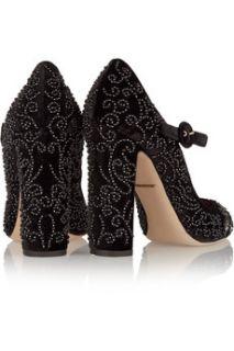 Embellished velvet Mary Jane pumps  Dolce & Gabbana