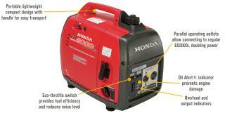 Honda EU2000i Companion Portable Inverter Generator — 2000 Surge Watts, 1600 Rated Watts, CARB-Compliant, Model# EU2000IT1A3  Inverter Generators