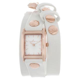 Via Nova Womens Silvertone Case Goldtone Leather Stud Wrap Watch