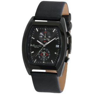 Kenneth Cole Mens KC1897 Black Leather Quartz Watch with Black Dial