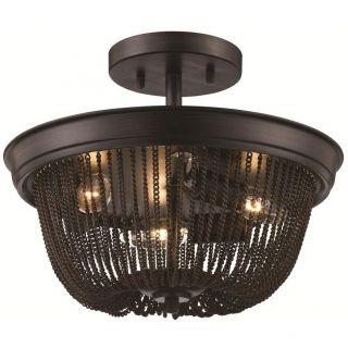 Trans Globe Lighting 70703 ROB 3 Light Semi Flush in Rubbed Oil Bronze