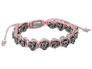 King Baby Studio Pink Macrame Bracelet w/ Alloy Roses