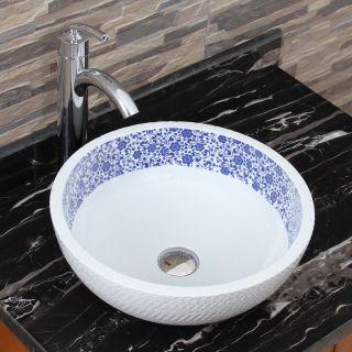 Elimaxs 2010+882002 Chrysanthemum Blue and White Porcelain Ceramic